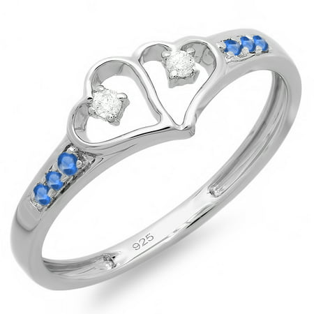 Dazzlingrock Collection Sterling Silver Round White Diamond & Blue Sapphire Ladies Promise Double Heart Love Ring, Size - Diamond & Sapphire Heart Ring