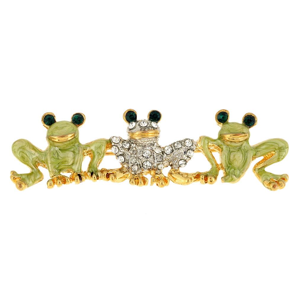 Triple Frogs Crystal Pin Brooch by
