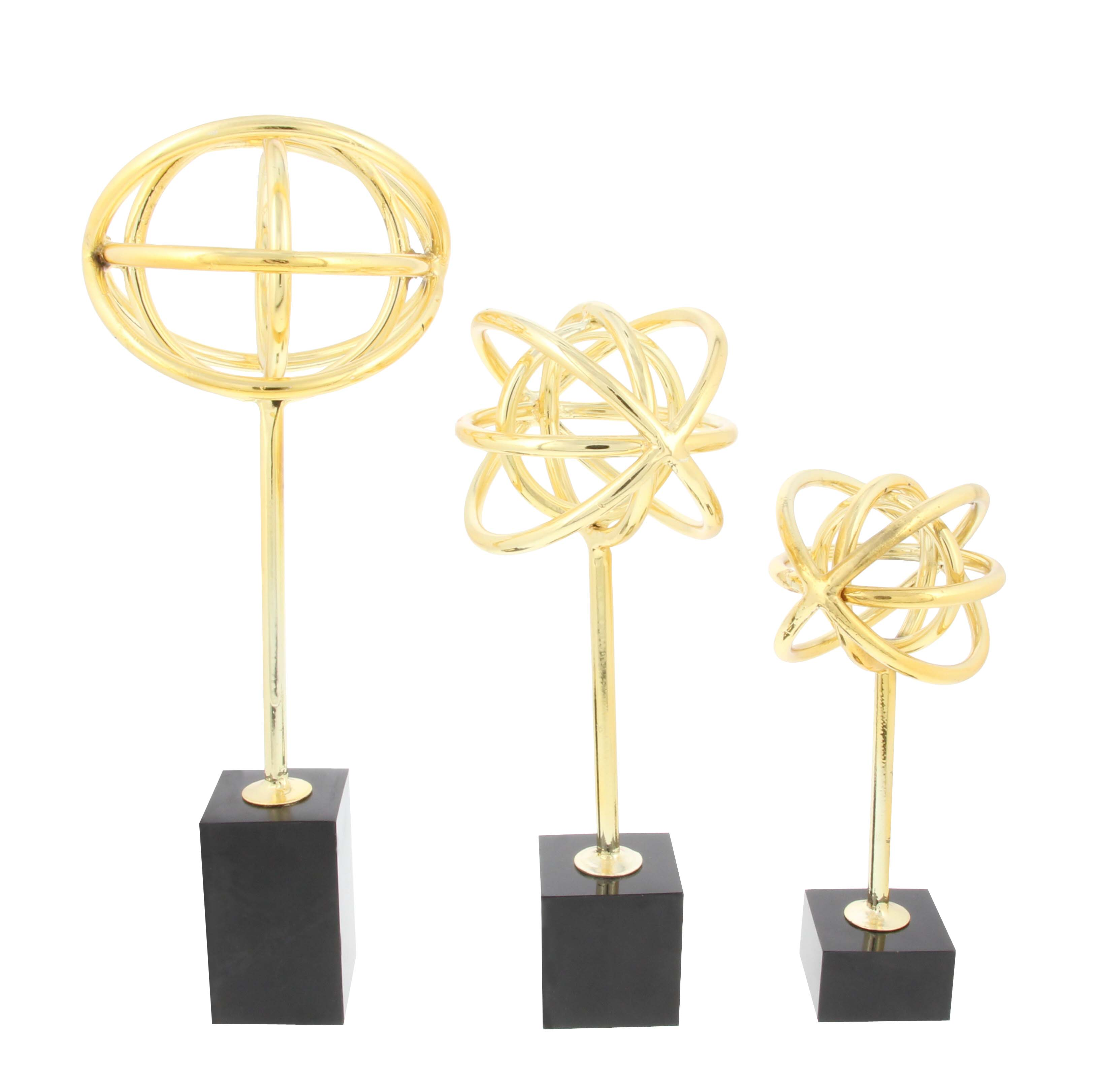 Decmode Set of 3 Modern 8, 12 and 10 Inch Iron and Marble Armillary Sculptures, Gold by DecMode