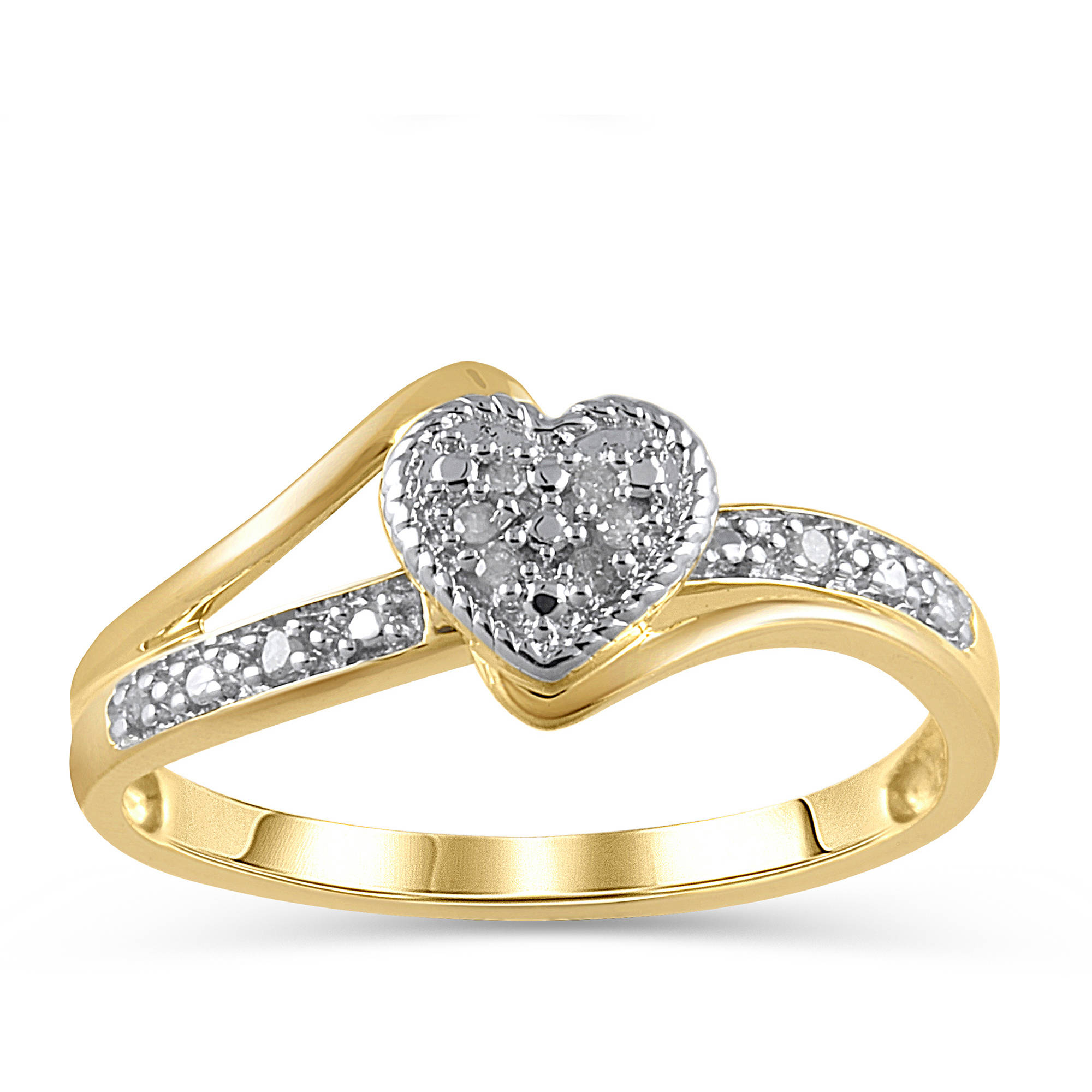 Diamond Accent 10kt Yellow Gold Heart Promise Ring Walmart