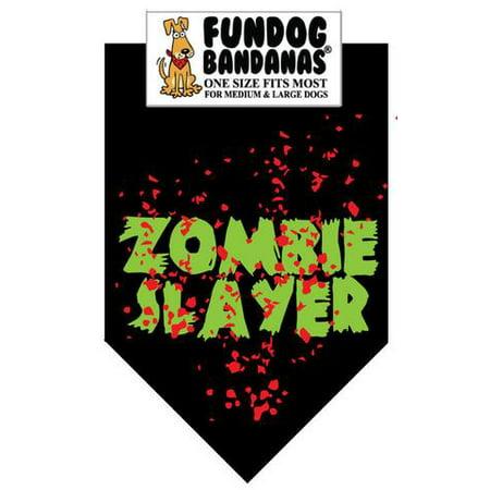 Fun Dog Bandana - Zombie Slayer - One Size Fits Most for Med to Lg Dogs, black pet scarf - Halloween Dog Bandanas Wholesale