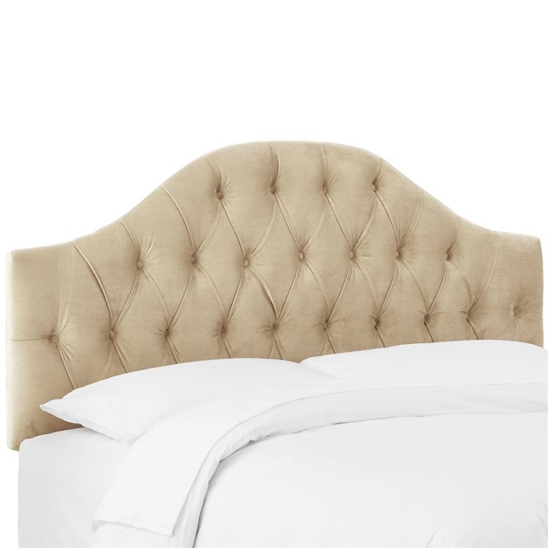 Skyline Furniture Diamond Tufted King Panel Headboard in Buckwheat