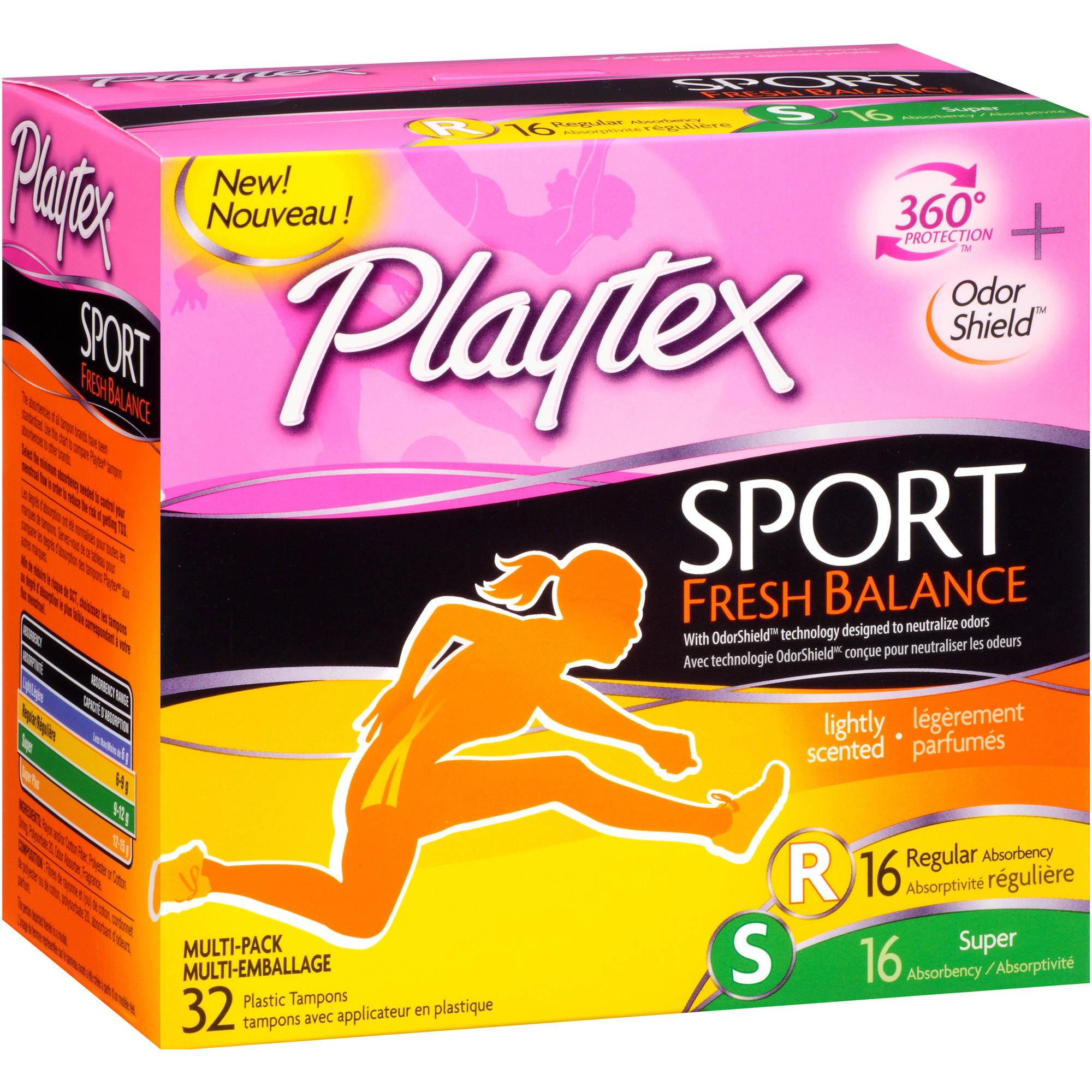 Playtex Sport Fresh Balance Multi-Pack Regular & Super Absorbency Plastic Tampons, 32 count