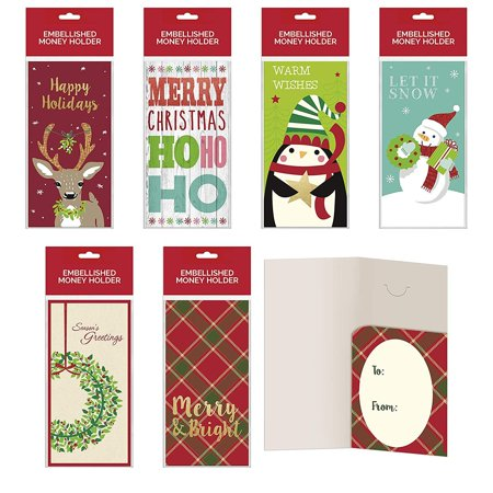 B-THERE Bundle of Assorted Embellished Holiday Gift Cards, Money Holders Set of 36 Cards for Christmas Gifting Wedding Money Card Holder