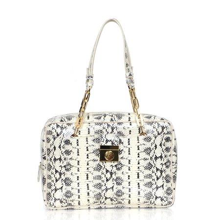 27e32ec1b955 Versace Collection Reptile Pattern Leather Satchel Handbag