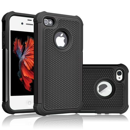 iPhone 4S Case, Tekcoo(TM) [Tmajor Series] iPhone 4/4S Case Shock Absorbing Hybrid Best Impact Defender Rugged Slim Grip Bumper Cover Shell Plastic Outer Rubber Silicone (Best Application For Iphone 4)