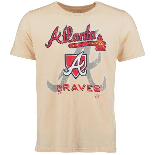 Atlanta Braves Majestic Threads Tri-Blend Established Stone T-Shirt - Cream