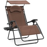 Best Choice Products Oversized Zero Gravity Reclining Lounge Patio Chairs w/ Folding Canopy Shade and Cup Holder (Tan)
