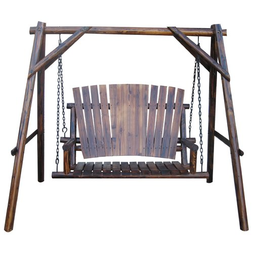Leigh Country Char-Log Porch Swing with Stand