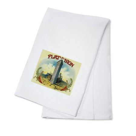 Flat Iron Brand Cigar Box Label (100% Cotton Kitchen Towel)