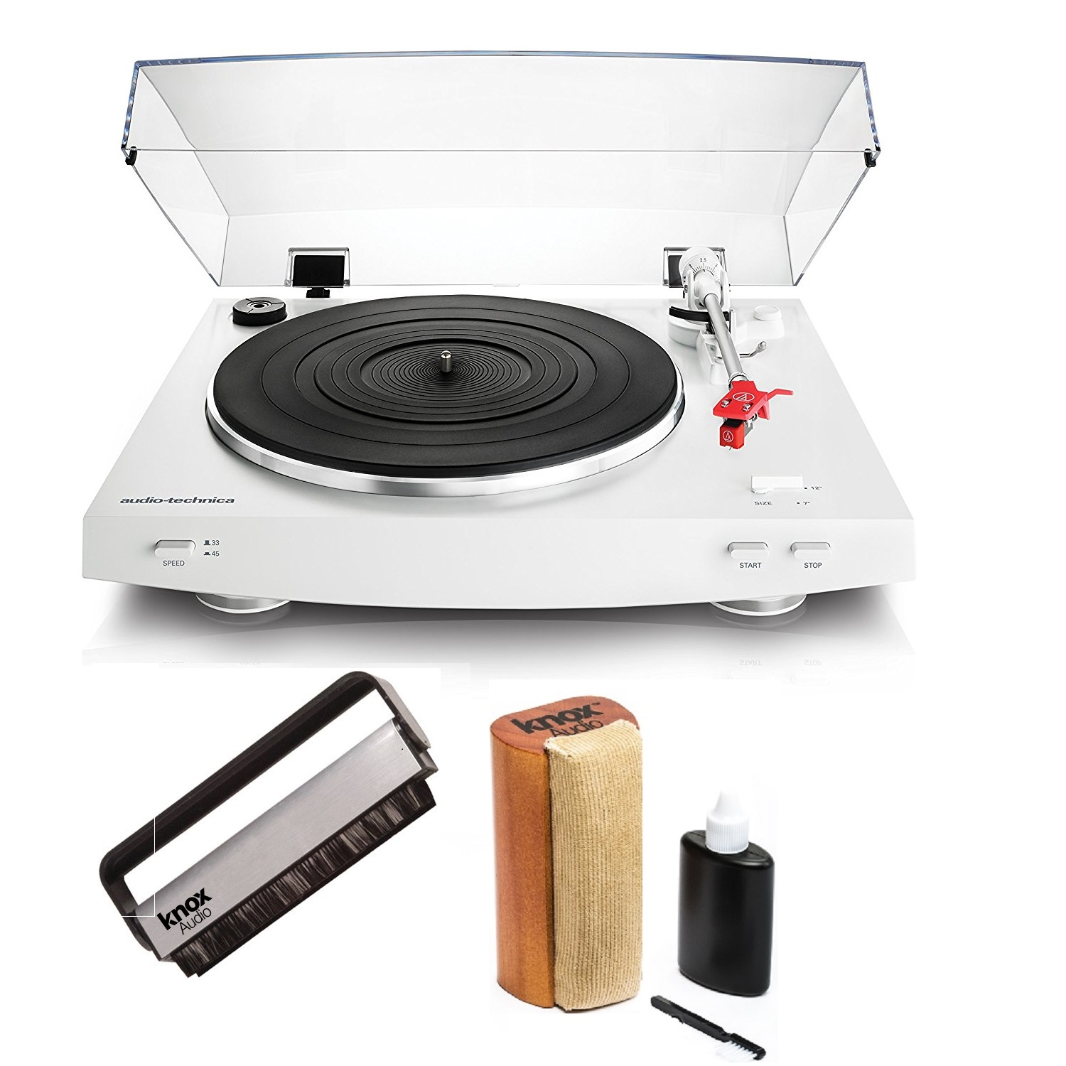 Audio-Technica AT-LP3WH Stereo Turntable (White) with Knox Cleaning Kit & Brush by Audio-Technica