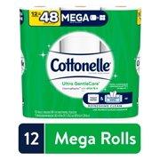 Cottonelle Ultra GentleCare Toilet Paper, Aloe & Vitamin E, 12 Mega Rolls, Bath Tissue
