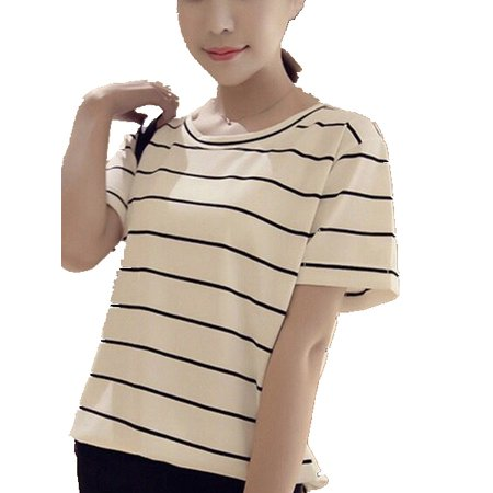 Women Striped Fashion Short Sleeve O-Neck Tops Loose Thin Student -