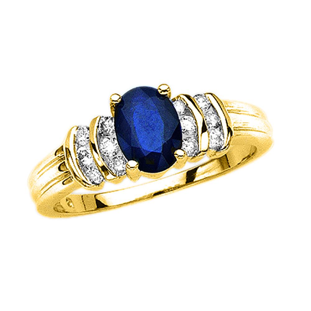 10K Yellow Gold 1 4 ct. Diamond and 1 1 3 ct. Oval Shape Sapphire Ring by Katarina