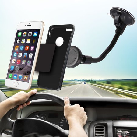 Upgraded TSV Long Arm Universal Magnetic Cradle Windshield Dashboard Cell Phone Mount Holder With Soft Firm Goose Arm, Enhanced Suction Cup