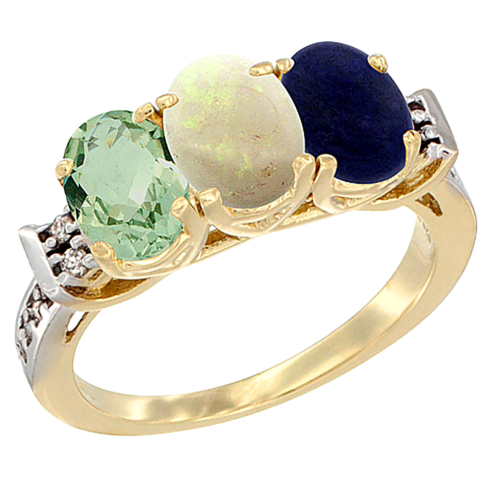 14K Yellow Gold Natural Green Amethyst, Opal & Lapis Ring 3-Stone 7x5 mm Oval Diamond Accent, sizes 5 10 by WorldJewels