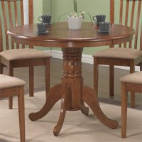 Bowery Hill Round Pedestal Dining Table in Light Brown and Amber