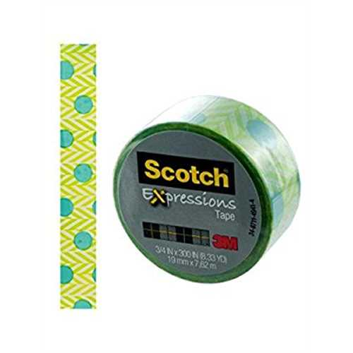 Scotch Expressions Tape; Green Grass With Blue Dots, 3/4 x 300 Inches