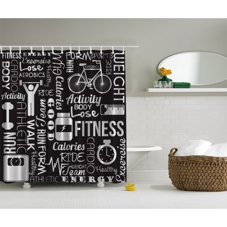 Fitness Love Healthy Life Aerobic Exercise Art Prints For Gym Shower Curtain Set