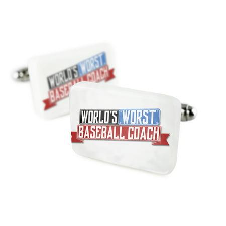 - Cufflinks Funny Worlds worst Baseball CoachPorcelain Ceramic NEONBLOND