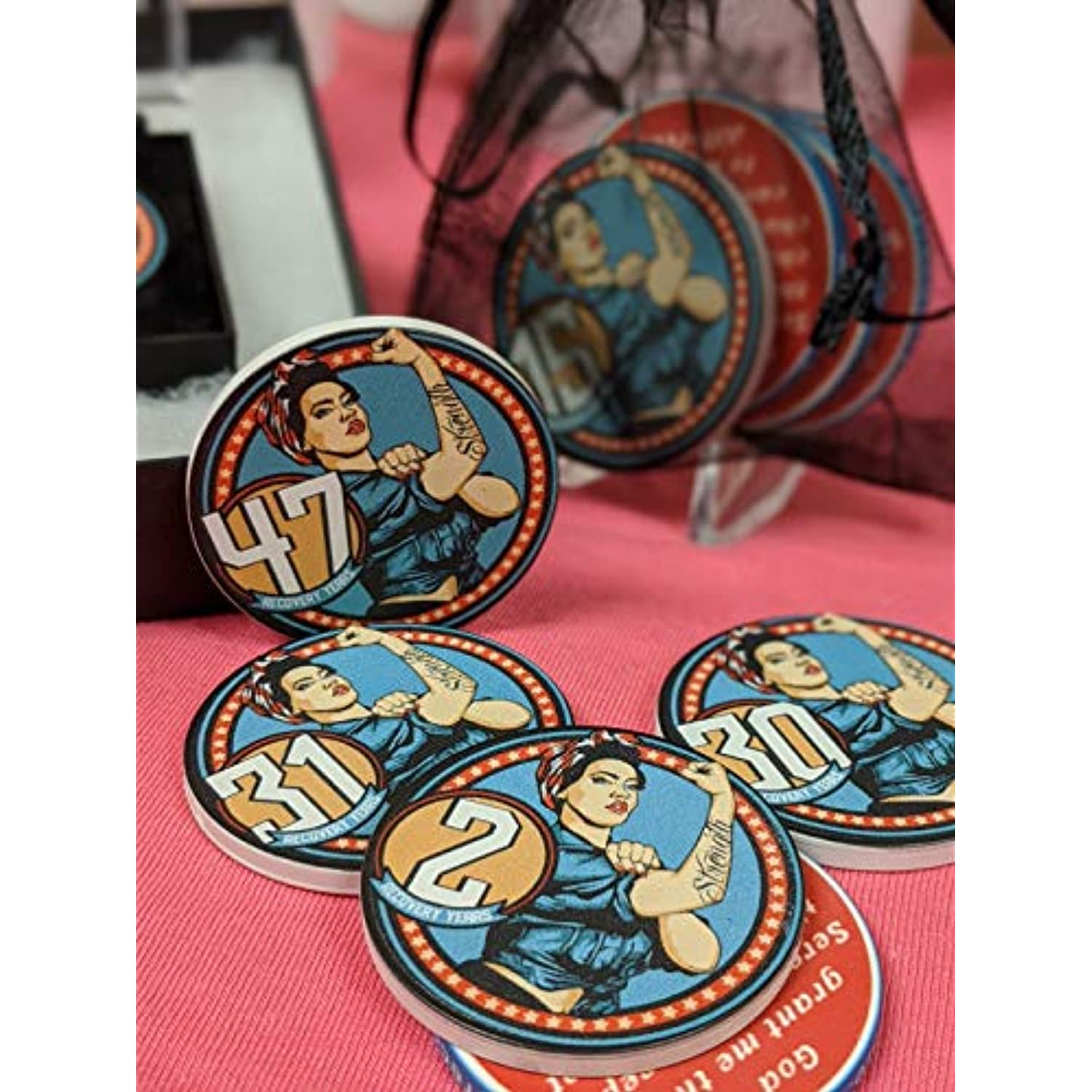 100 Chips logo or imprint on both sides in full color! Custom Made Casino Personalized Poker Chips with your photo