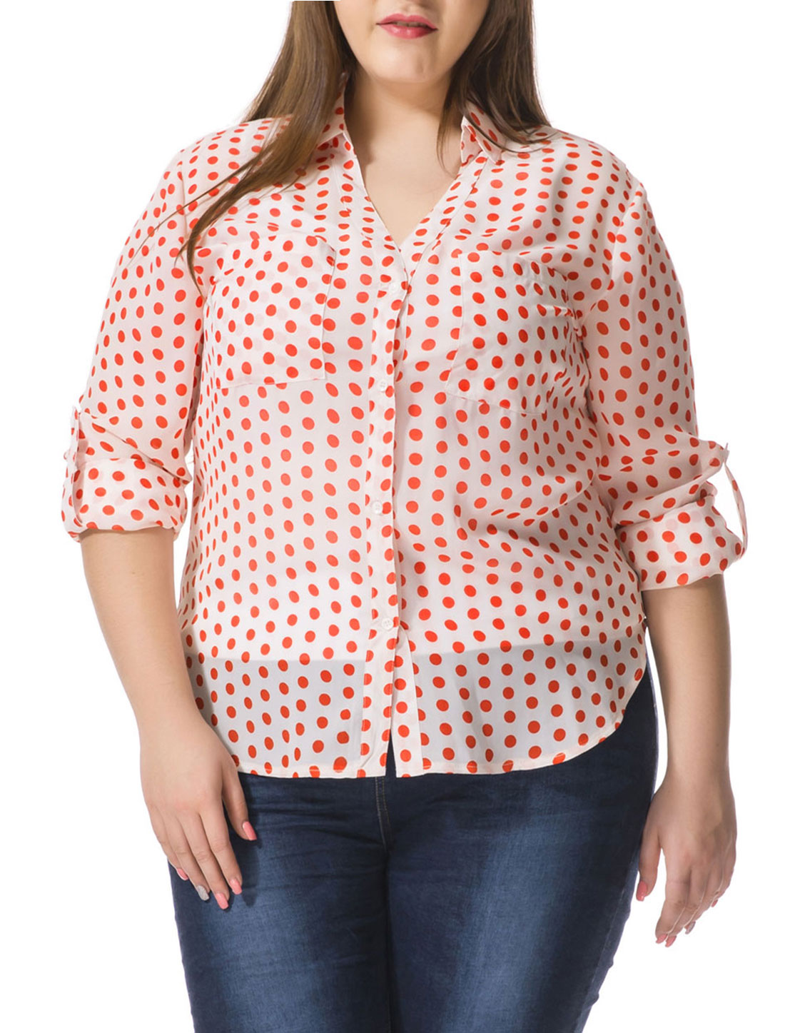 Unique Bargains Women's Plus Size Polka Dots Convertible Sleeve Portofino Shirt White (Size 3X)