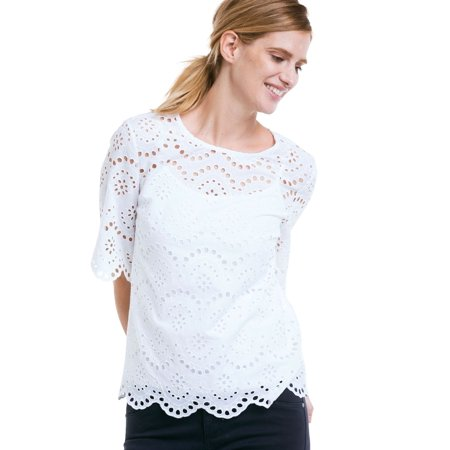 4df3890152e Ellos - Plus Size Scalloped Hem Eyelet Blouse - Walmart.com