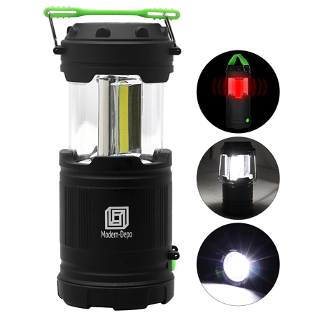 Portable LED Camping Lantern with Flashlights 7 Modes | 300 Lumens COB Battery Powered with Fluorescent Handles for Hiking Emergencies Hurricanes Outages Storms Car repair