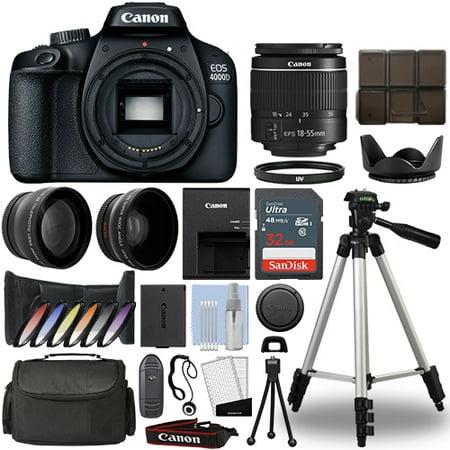 Canon EOS 4000D / Rebel T100 SLR Camera+ 18-55mm 3 Lens Kit+ 32GB Best Value