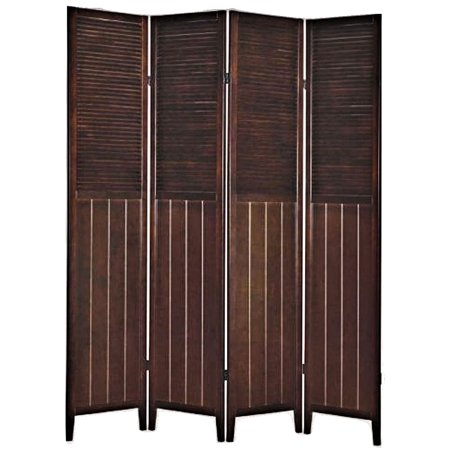 Legacy Decor 4-Panel Solid Wood Shutter Room Divider Espresso (Shutter Room Divider)