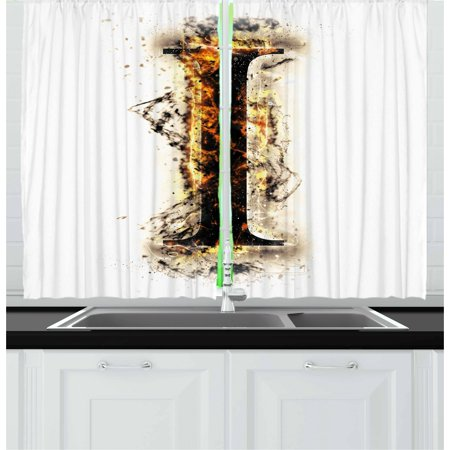 Letter I Curtains 2 Panels Set, Charred Alphabet Symbol Flames Capitalized I Letter Burning Pattern Design, Window Drapes for Living Room Bedroom, 55W X 39L Inches, Tan Black Orange, by Ambesonne