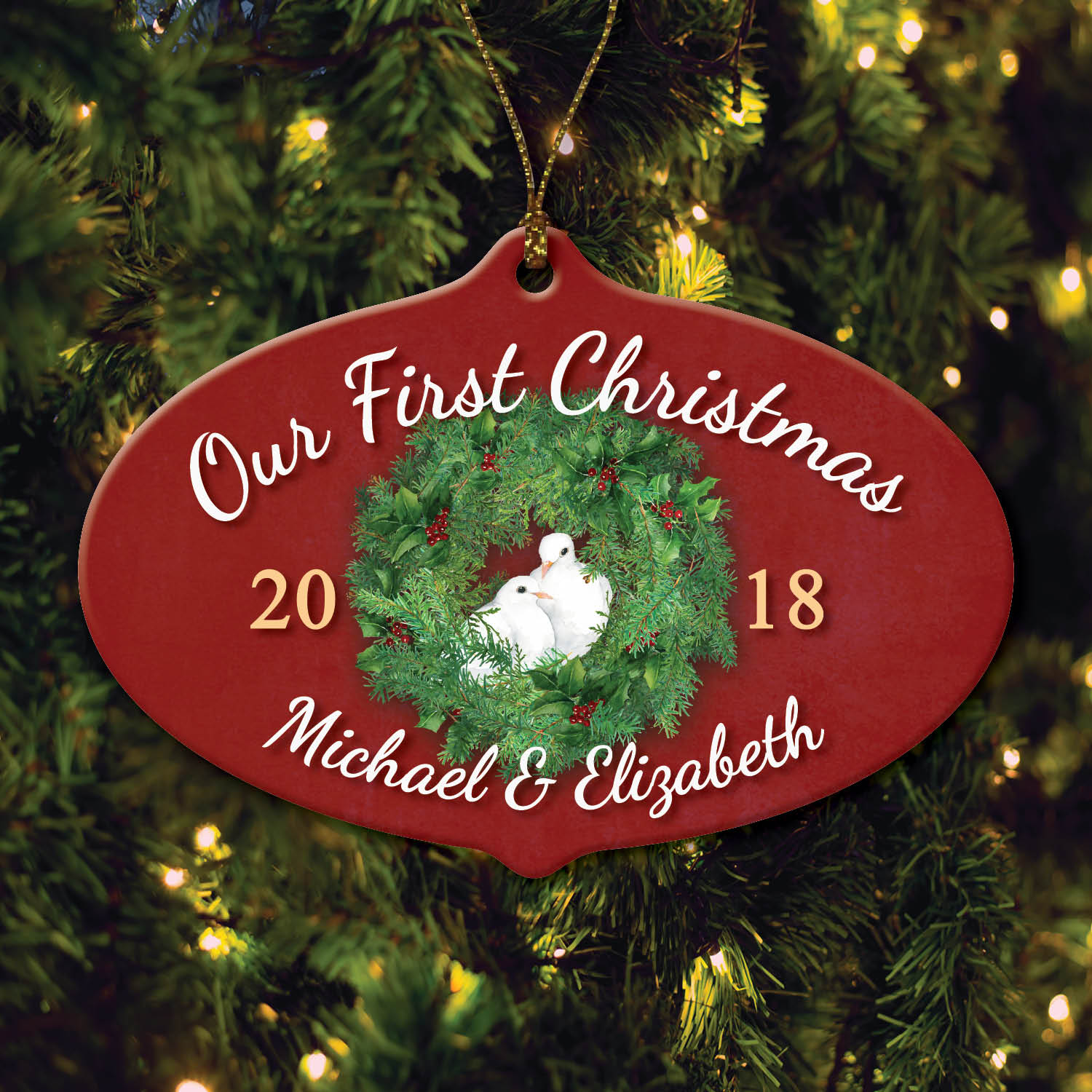 Personalized Our First Christmas Dove Ornament
