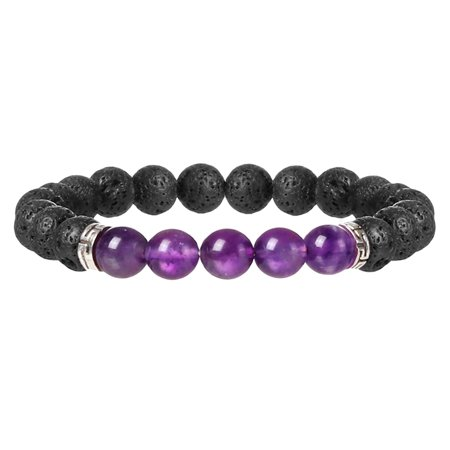 Fashion Men's Women's Unique Natural Stone Gemstone Volcanic Lava Bracelet Healing Bracelet Round Beads Charm Jewelry Yoga Bracelets 7# (Yoga Charms)