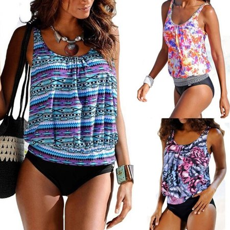 Women Swimwear Summer Fashion Print 2 Pieces Tankinis Top Padded Bathing Suits