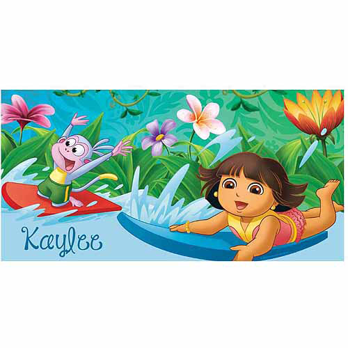Personalized Dora the Explorer Surfing Adventure Beach Towel