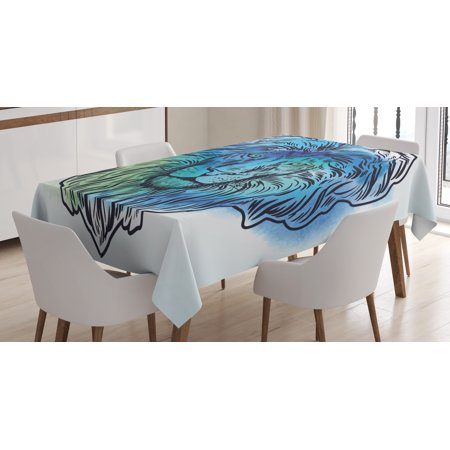 Lion Tablecloth, Artistic Lion Portrait with Digital Hazy Effect King of Forest Illustration, Rectangular Table Cover for Dining Room Kitchen, 60 X 84 Inches, Light Blue Turquoise, by Ambesonne - Lion King Table Cover