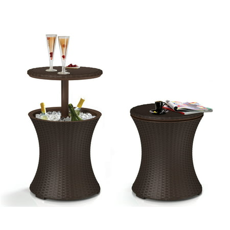 Keter Pacific Cool Bar Rattan Style Patio Beverage Cooler Bar Table