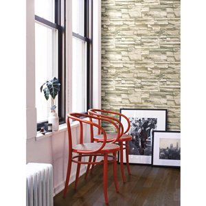 RoomMates Natural Stacked Stone Peel and Stick Wall Décor Wallpaper