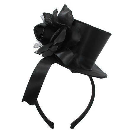 Womens Mini Black Top Hat With Rose Ribbon Headband Fascinator Costume Headpiece - Mini Tophats