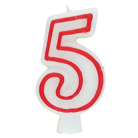 Number Candles (Number 5 Birthday Candle, 2.75 in, Red and White,)