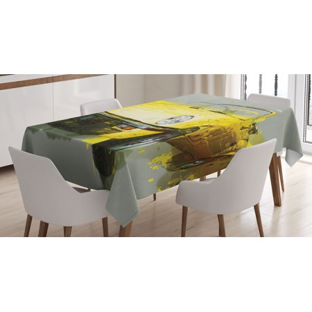 Car Decor Tablecloth, Retro Classic 50s 60s Cuban American Watercolor Big Cosy Car Print Picture, Rectangular Table Cover for Dining Room Kitchen, 60 X 84 Inches, Yellow and White, by Ambesonne - 50s Table