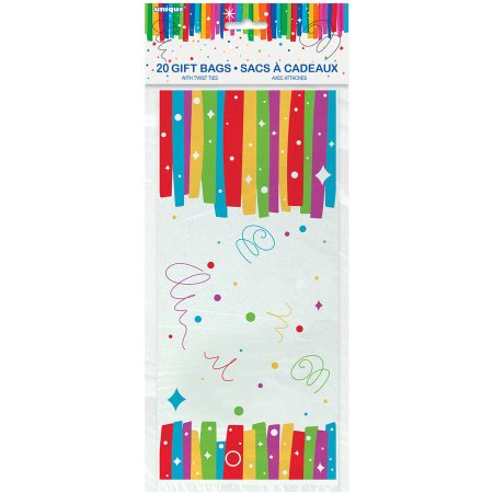 (3 Pack) Rainbow Birthday Party Cellophane Bags, 20-Count - Shark Birthday Supplies