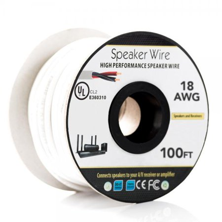 100 ft. 18AWG Speaker Wire - 2 Conductor - CL2 Fire Rated - White - image 1 de 1
