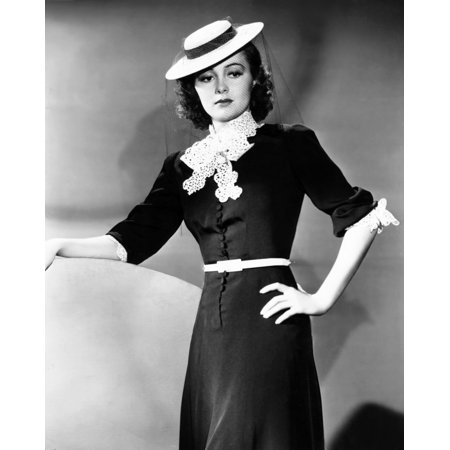 Olivia De Havilland Modeling A Spring Frock Of Navy-Blue Bengaline With White Accents And A Felt Boater Hat 1939 Photo - Boater Hats