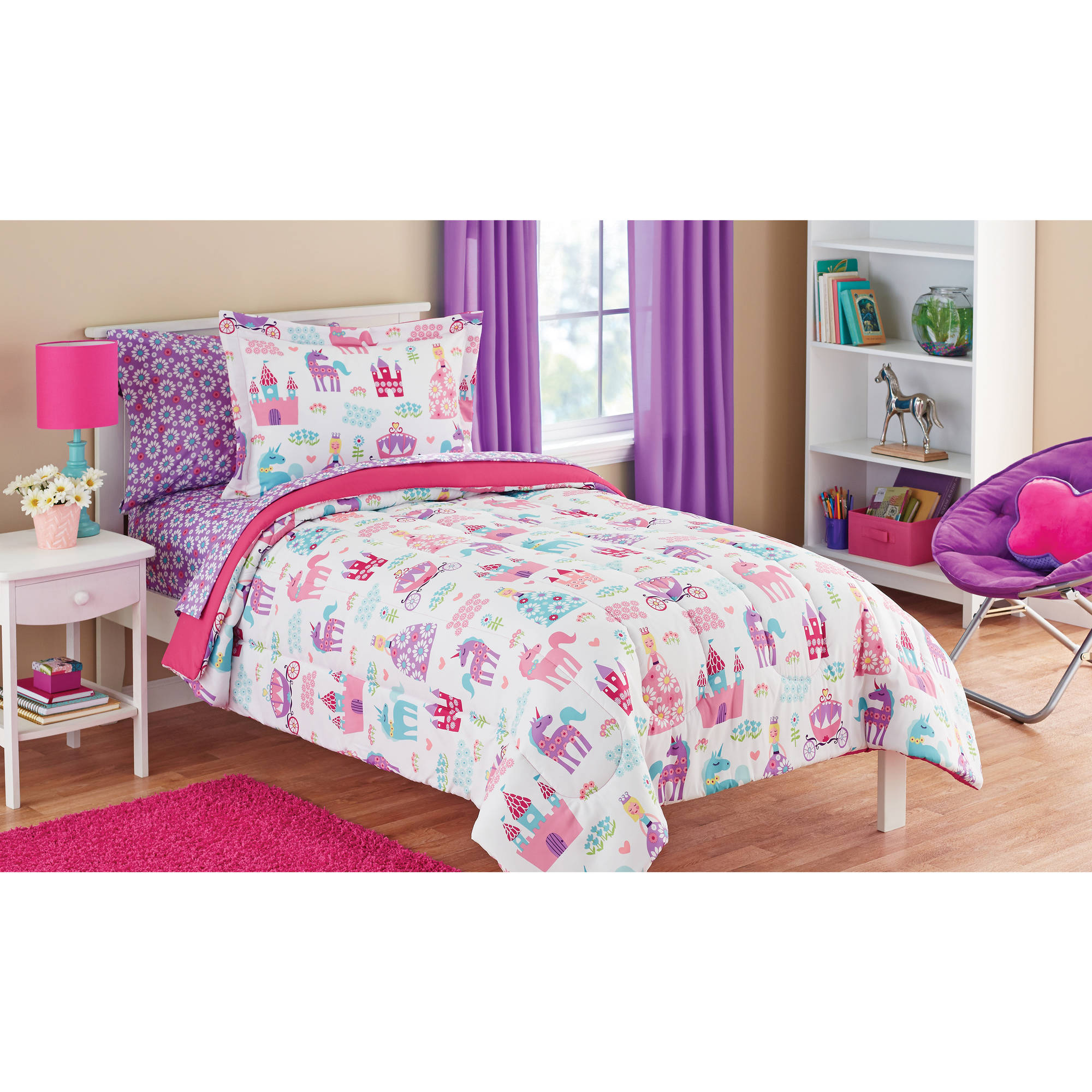 mainstays kids pretty princess bed in a bag bedding set - walmart