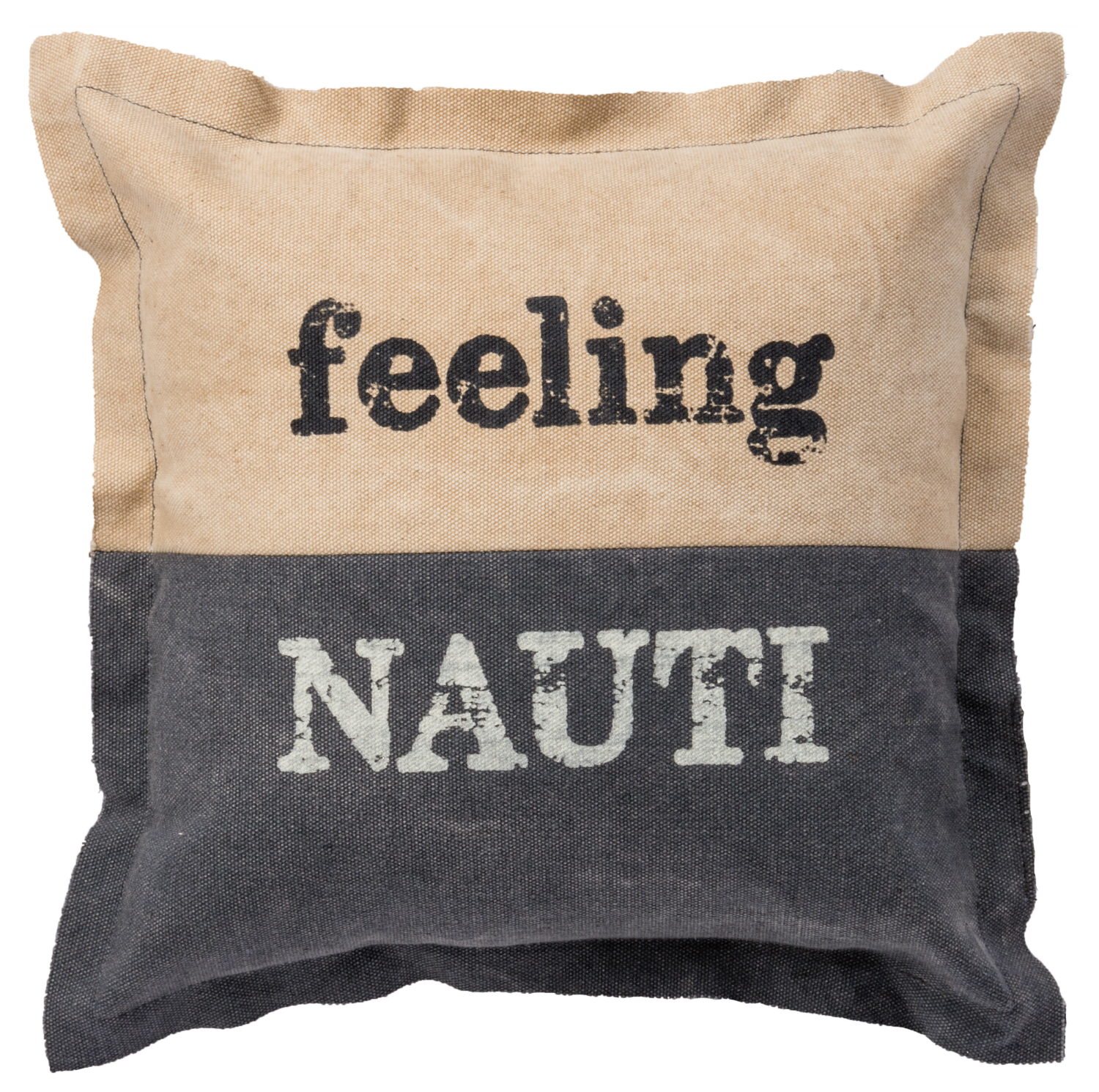 Feeling Nauti Ships Wheel Accent Throw Pillow 10 Inches Tan and Navy Blue