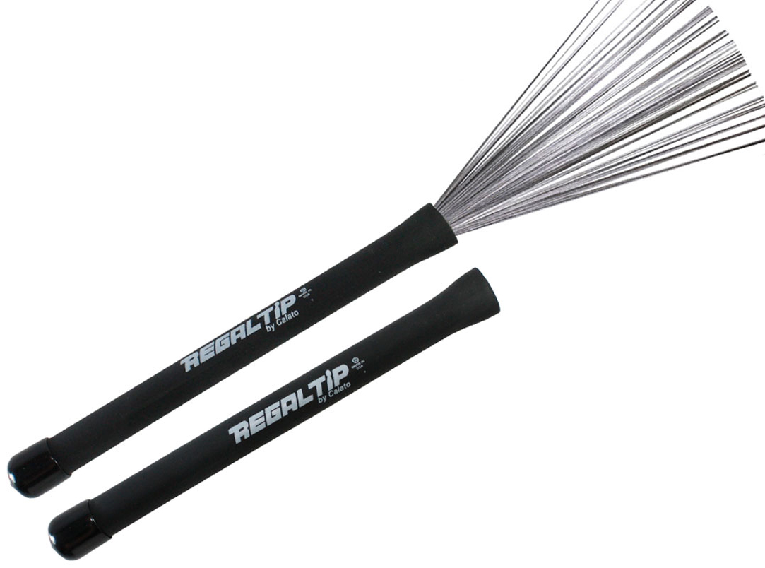 Click here to buy Regal Tip 500PLB Rubber Handle Metal Wire Drum Throw Retractable Brushes Sticks by Regal Tip.