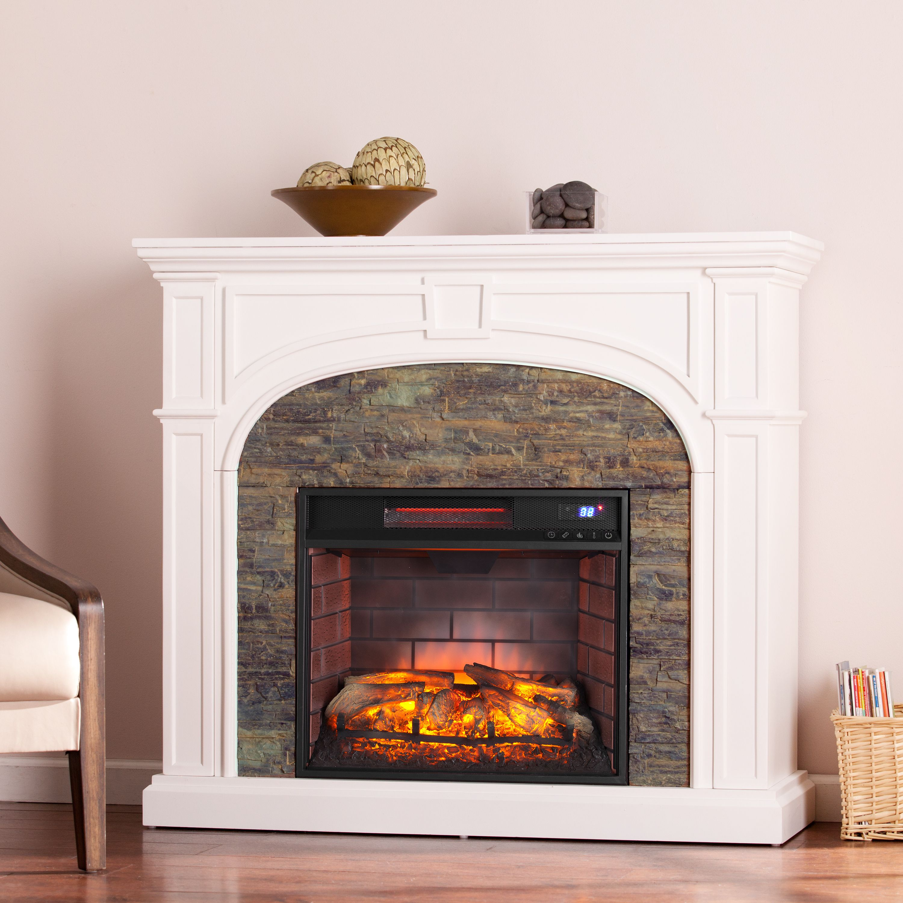"Lambert Electric Fireplace with Faux Stone, For TV's up to 42"", White"