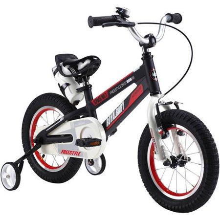RoyalBaby Space No. 1 Aluminum Kid's Bike with training wheels, for boys or girls, Perfect gift for kids, 18 inch wheels, Black