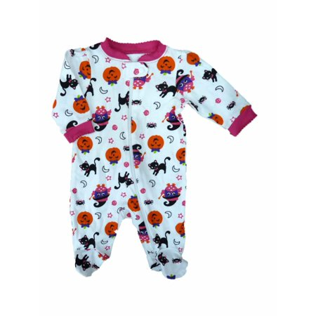 Infant Baby Girls White Halloween Cat Pumpkin Sleeper Sleep & Play Pajamas